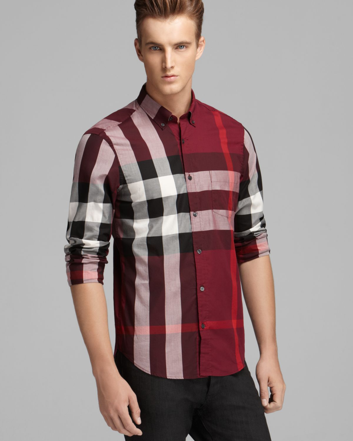 e56ddac55 Burberry Brit Fred Check Sport Shirt Slim Fit in Red for Men - Lyst