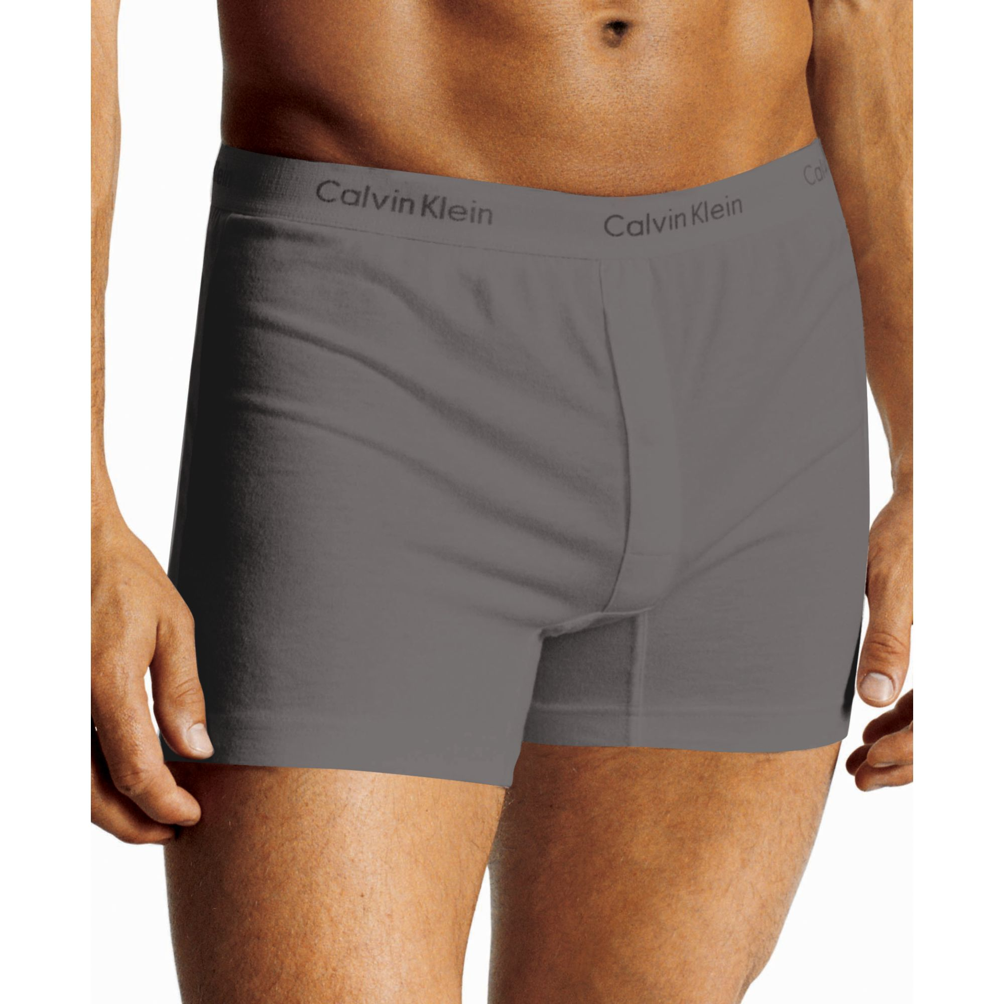 calvin klein classic slim fit knit boxer u1029 in gray for men charcoal lyst. Black Bedroom Furniture Sets. Home Design Ideas