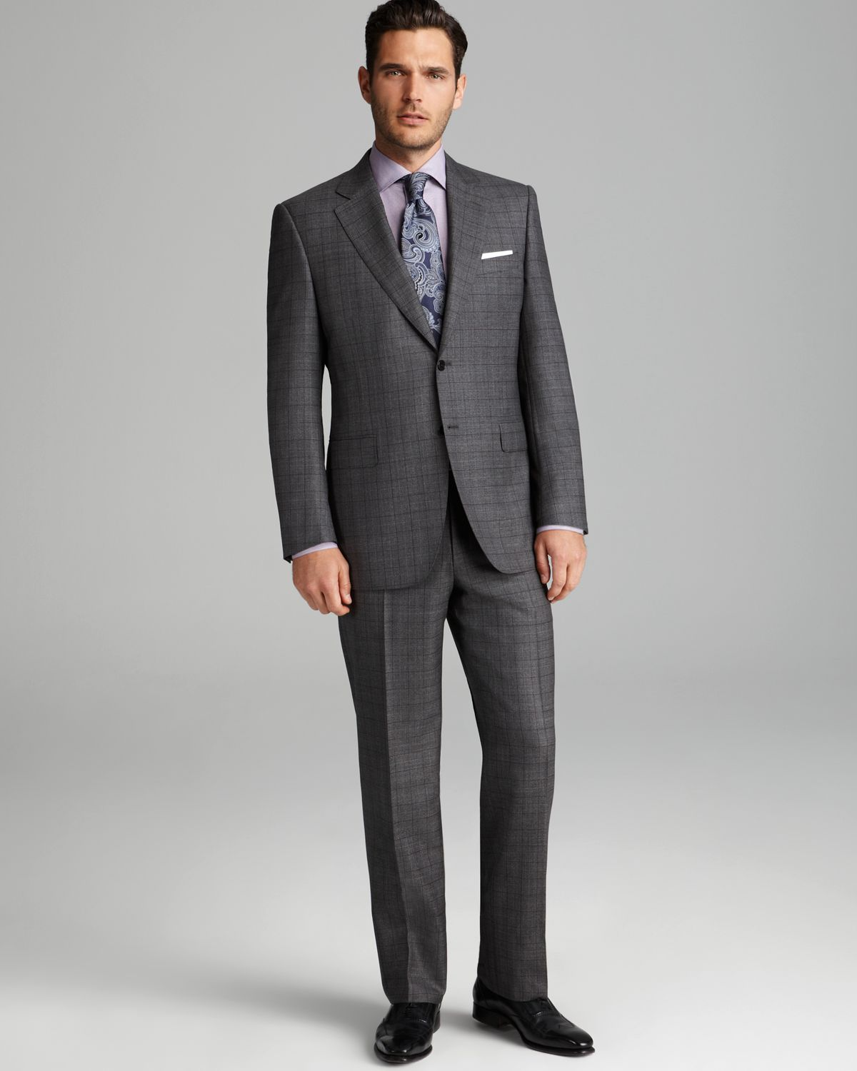Canali Check Suit Regular Fit In Gray For Men Lyst