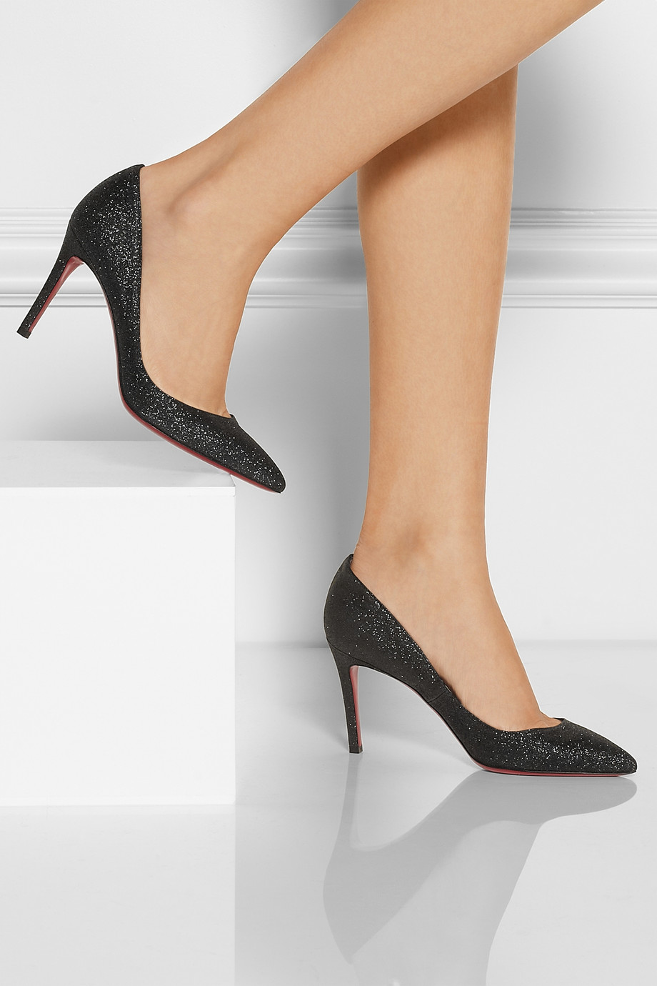 517edd51c78a Christian Louboutin The Pigalle 85 Glittered Pumps in Black - Lyst