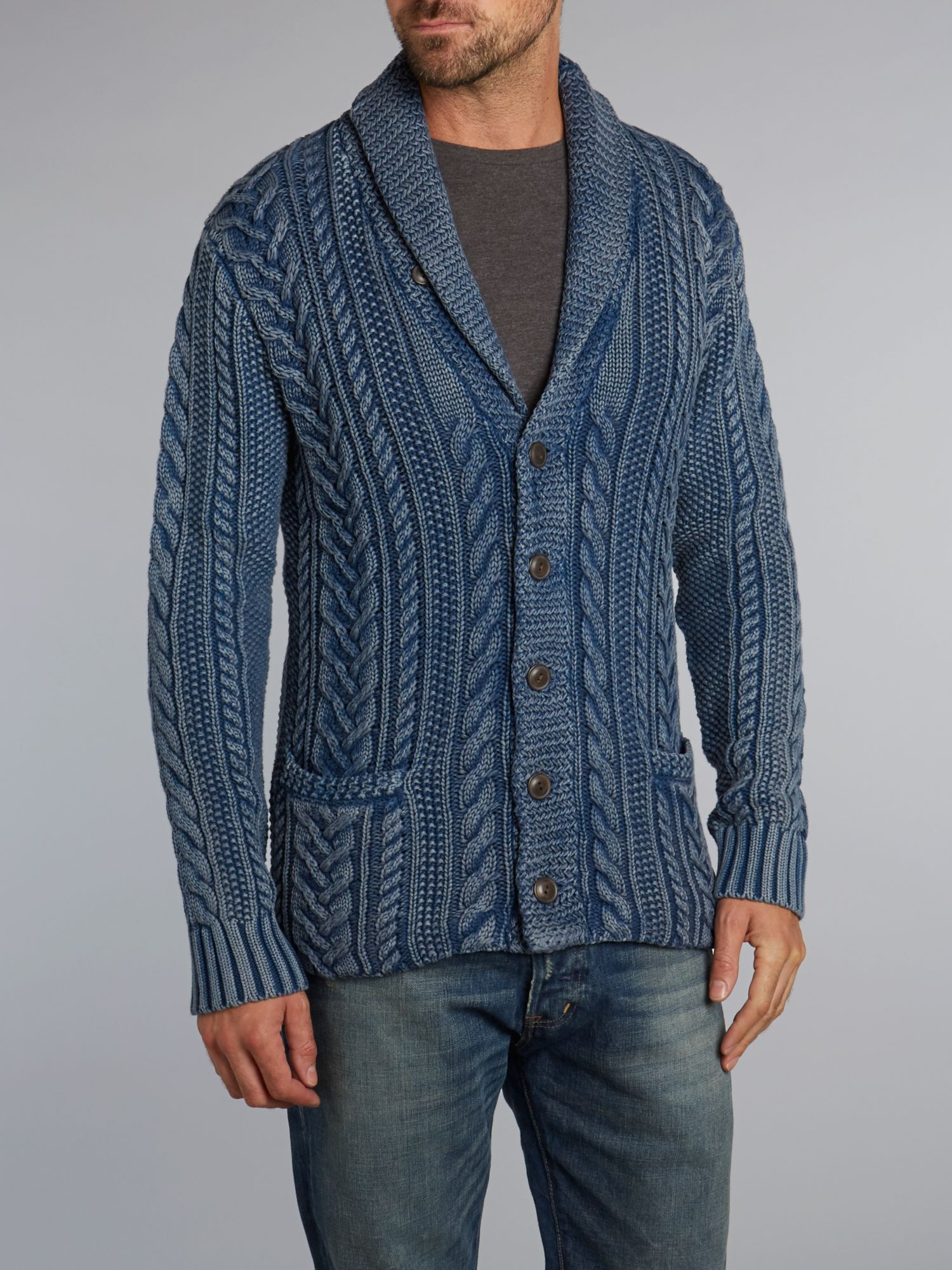 Knitting Pattern For Shawl Sweater : Denim & supply ralph lauren Cable Knit Shawl Cardigan in Blue for Men Lyst