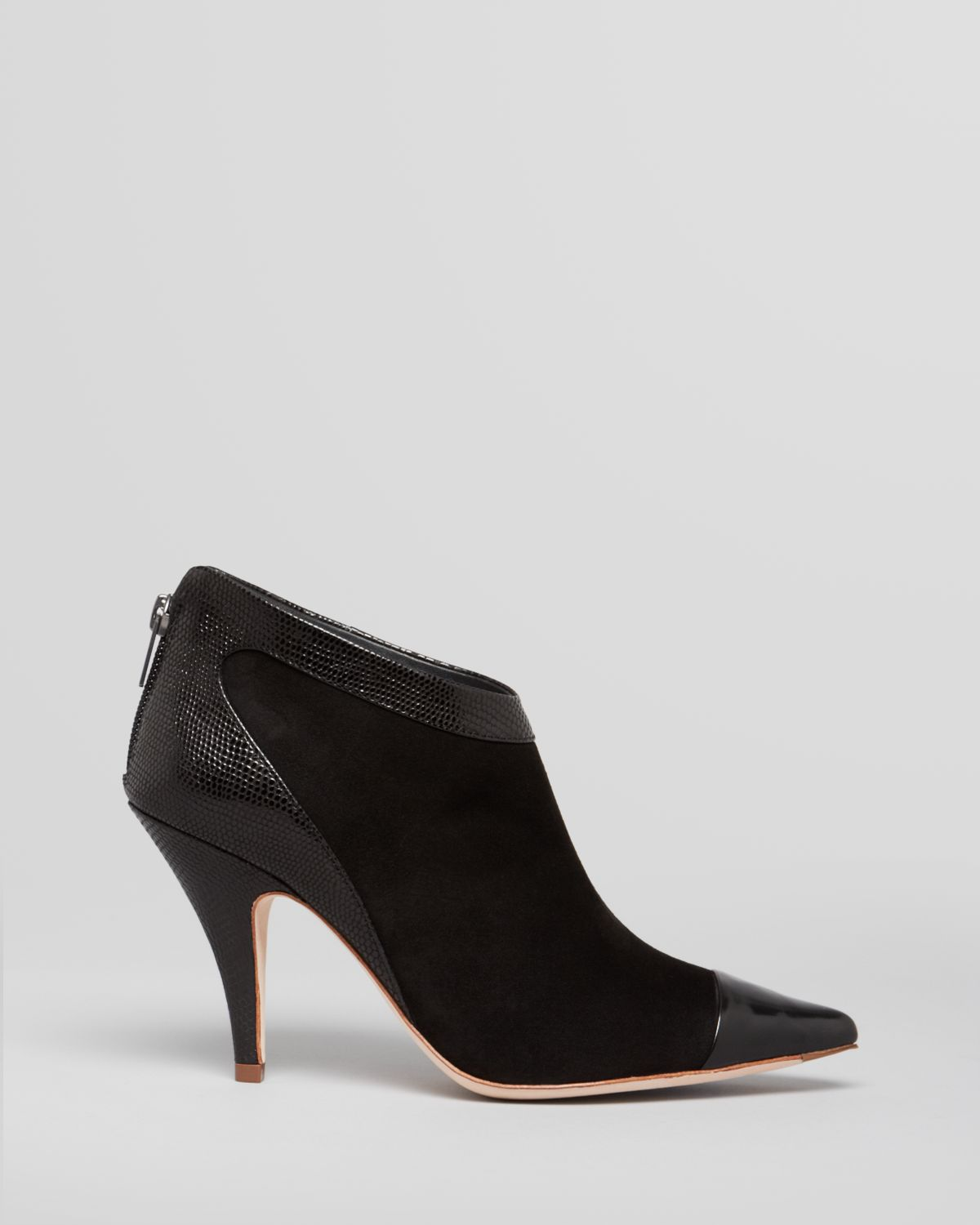 Elie Tahari Pointed-Toe Leather-Trimmed Ankle Boots cheap sale websites big discount 14x3gRrt