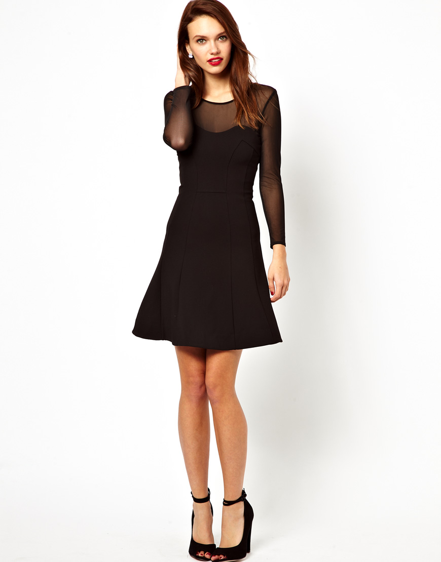 French Connection Skater Dress With Sheer Sleeves In Black