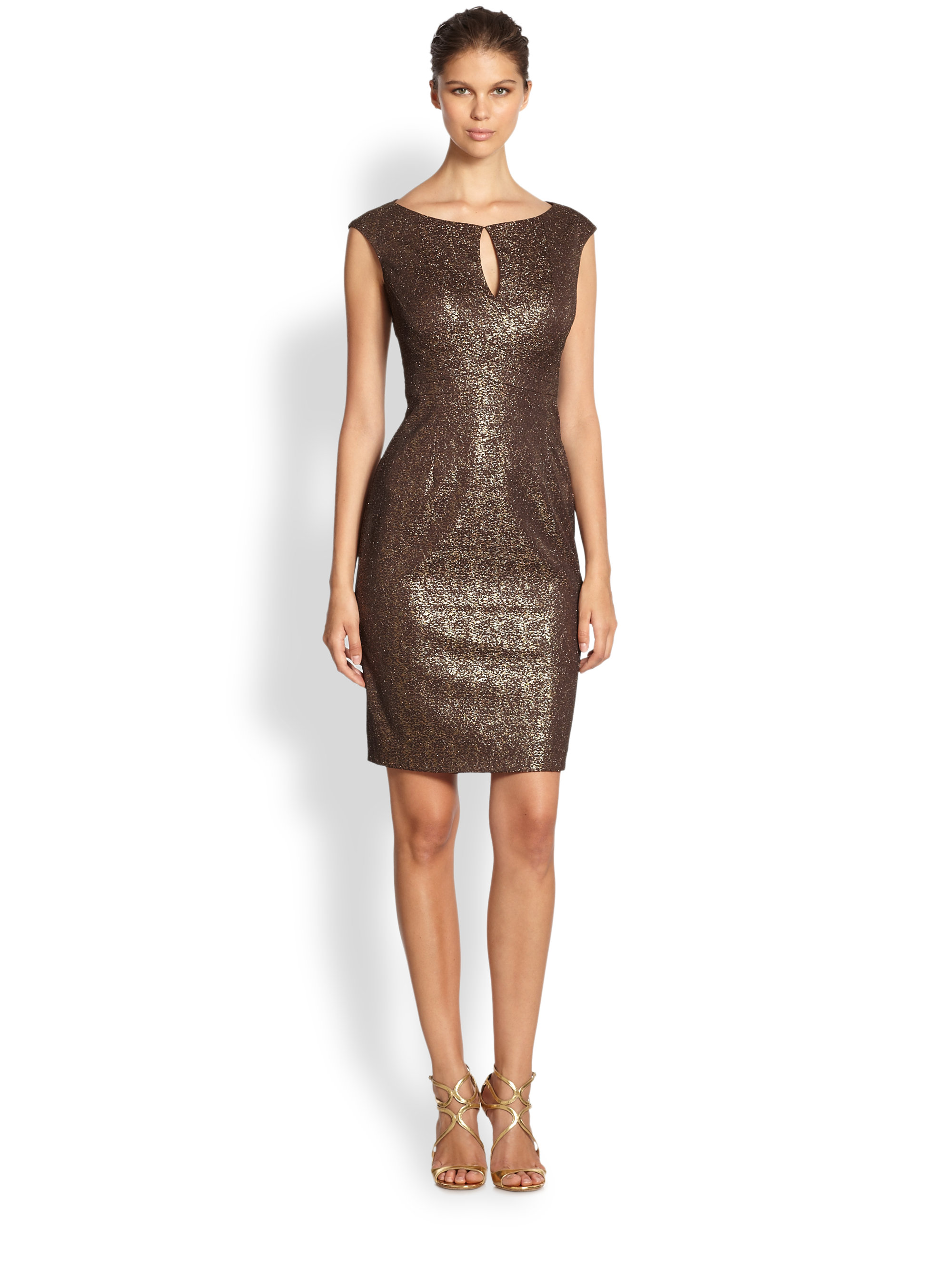 Lyst Kay Unger Metallic Lace Stretch Dress In Brown