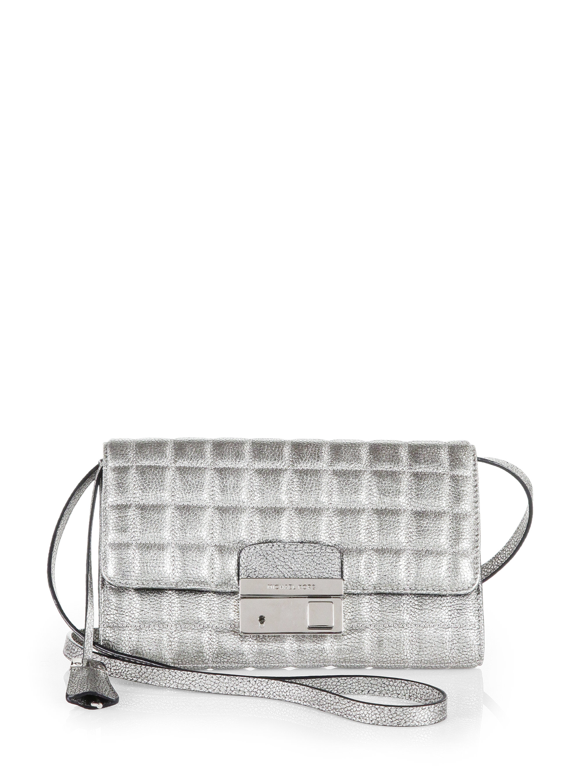 michael kors gia quilted leather clutch in silver lyst. Black Bedroom Furniture Sets. Home Design Ideas