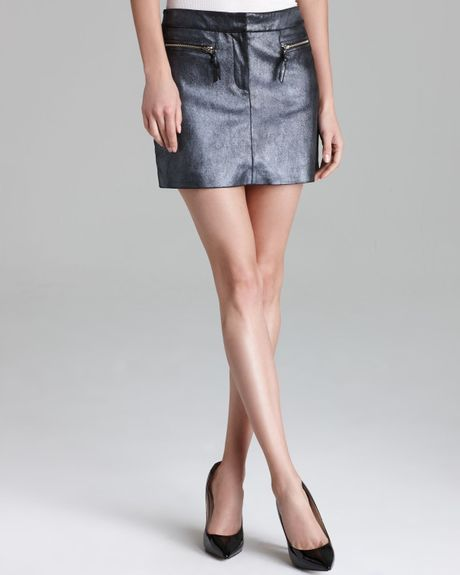milly leather skirt metallic stretch mini in gray shimmer