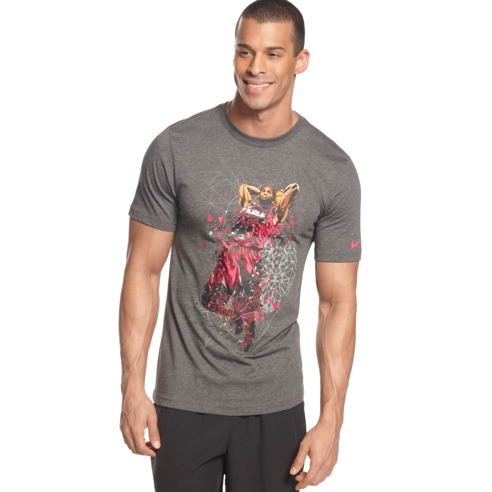 Nike lebron remaster short sleeve t shirt in gray for men for Lebron shirts for sale
