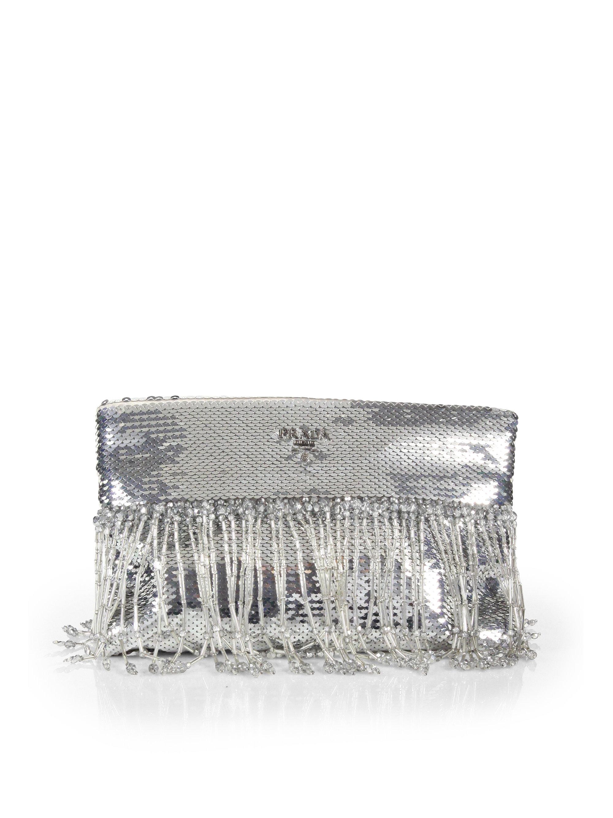 Prada Paillettes Fringe Clutch in Silver (ARGENTO-SILVER)   Lyst