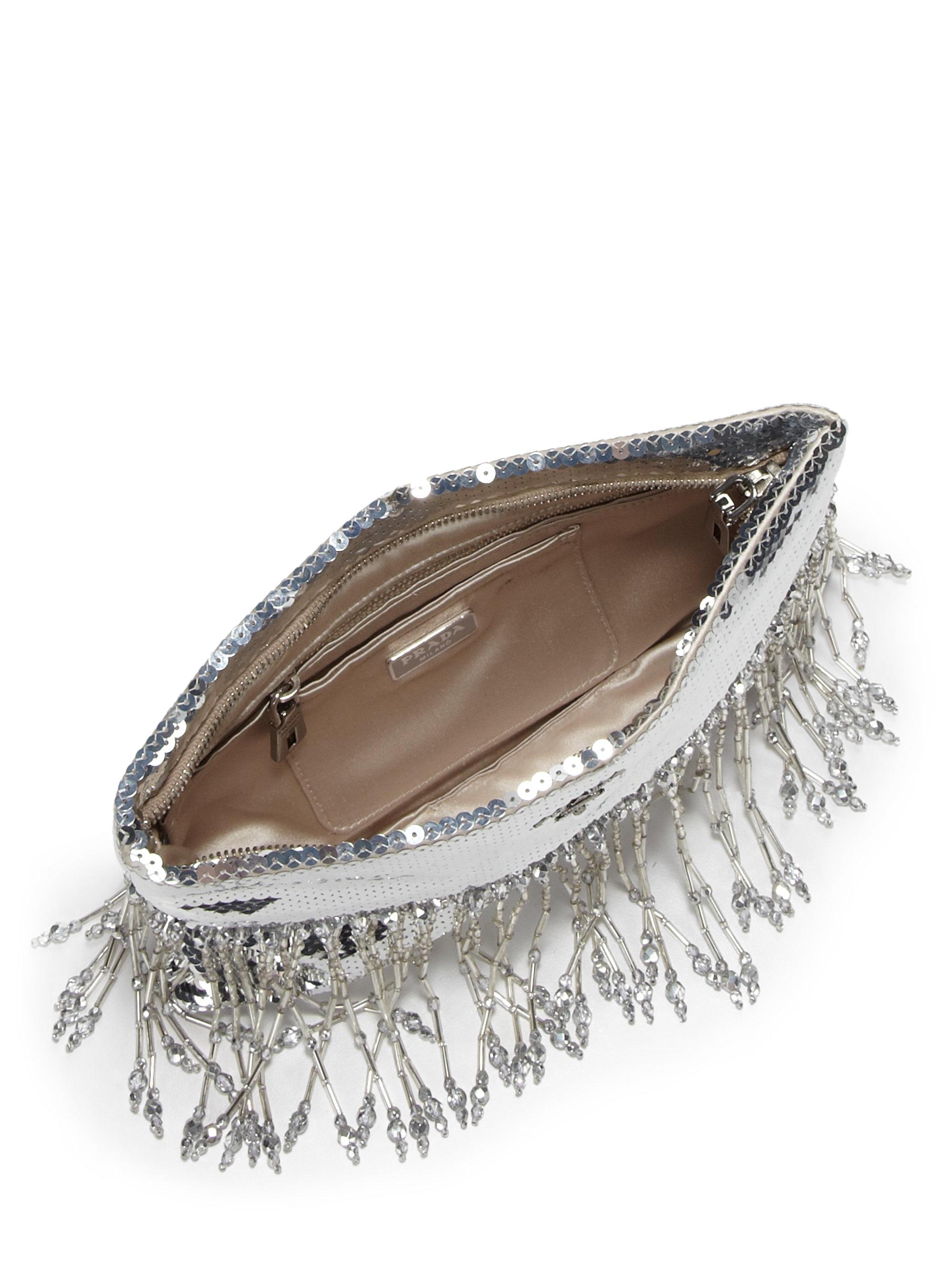 prada wallet for women - Prada Paillettes Fringe Clutch in Silver (ARGENTO-SILVER)   Lyst