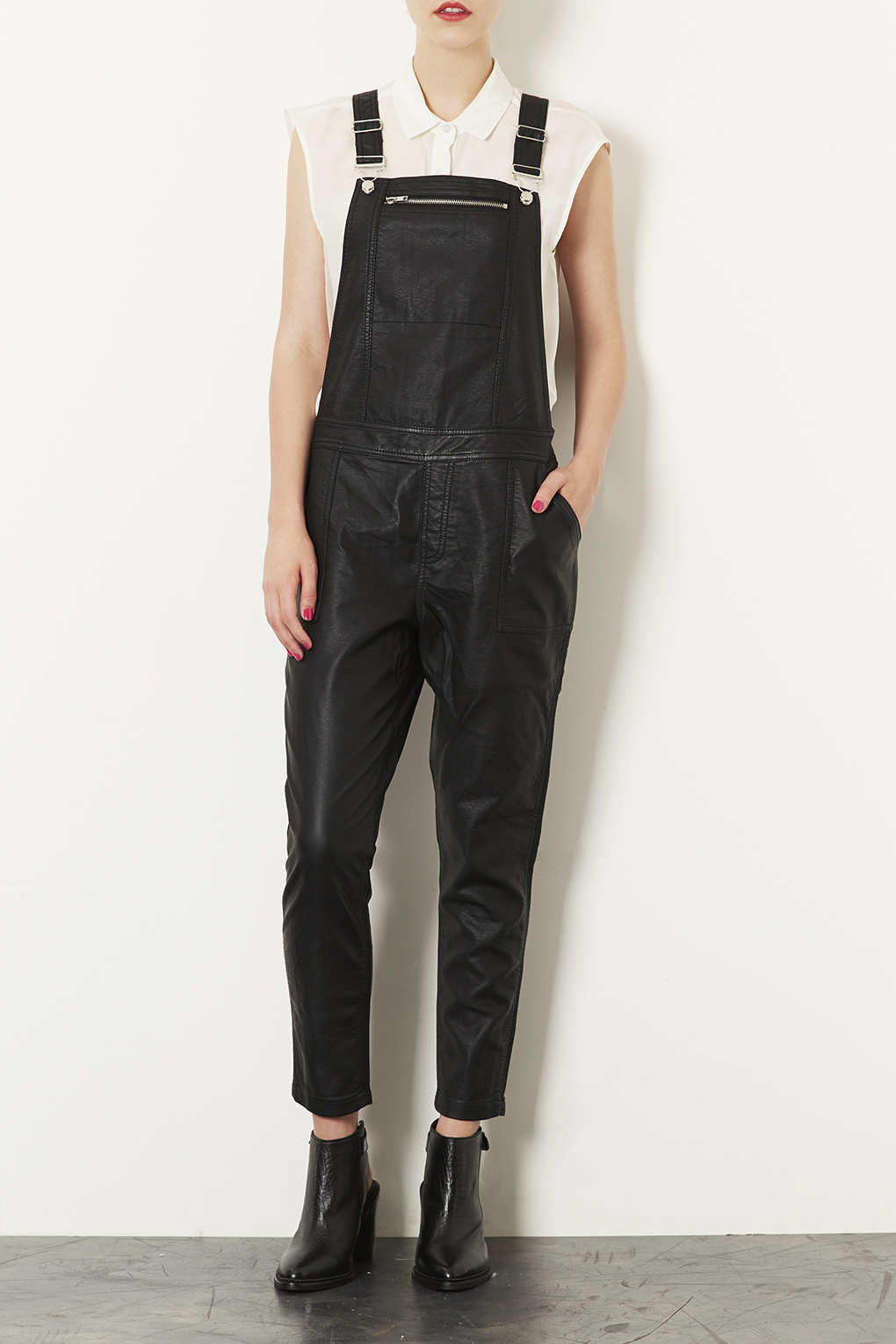 Topshop Leather Look Dungaree In Black Lyst