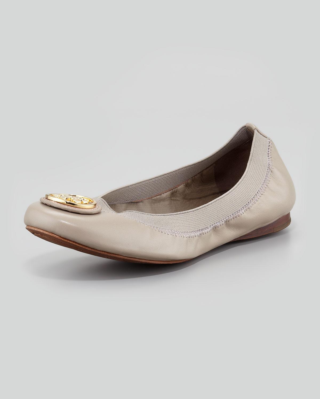 75ab79f20c52 Lyst - Tory Burch Caroline 2 Leather Stretch Ballerina Flats Dust ...