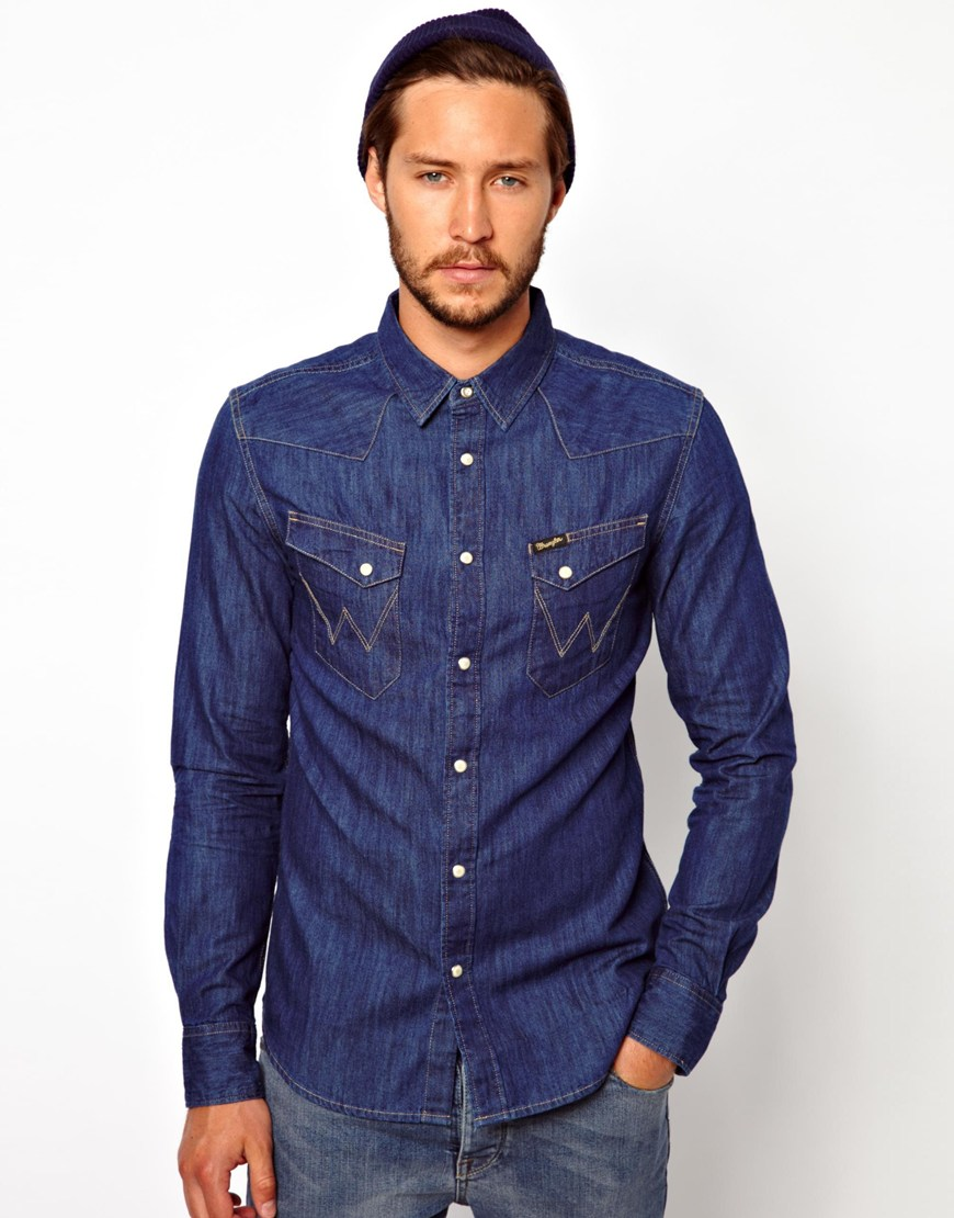 wrangler denim shirt slim fit city western in blue for men