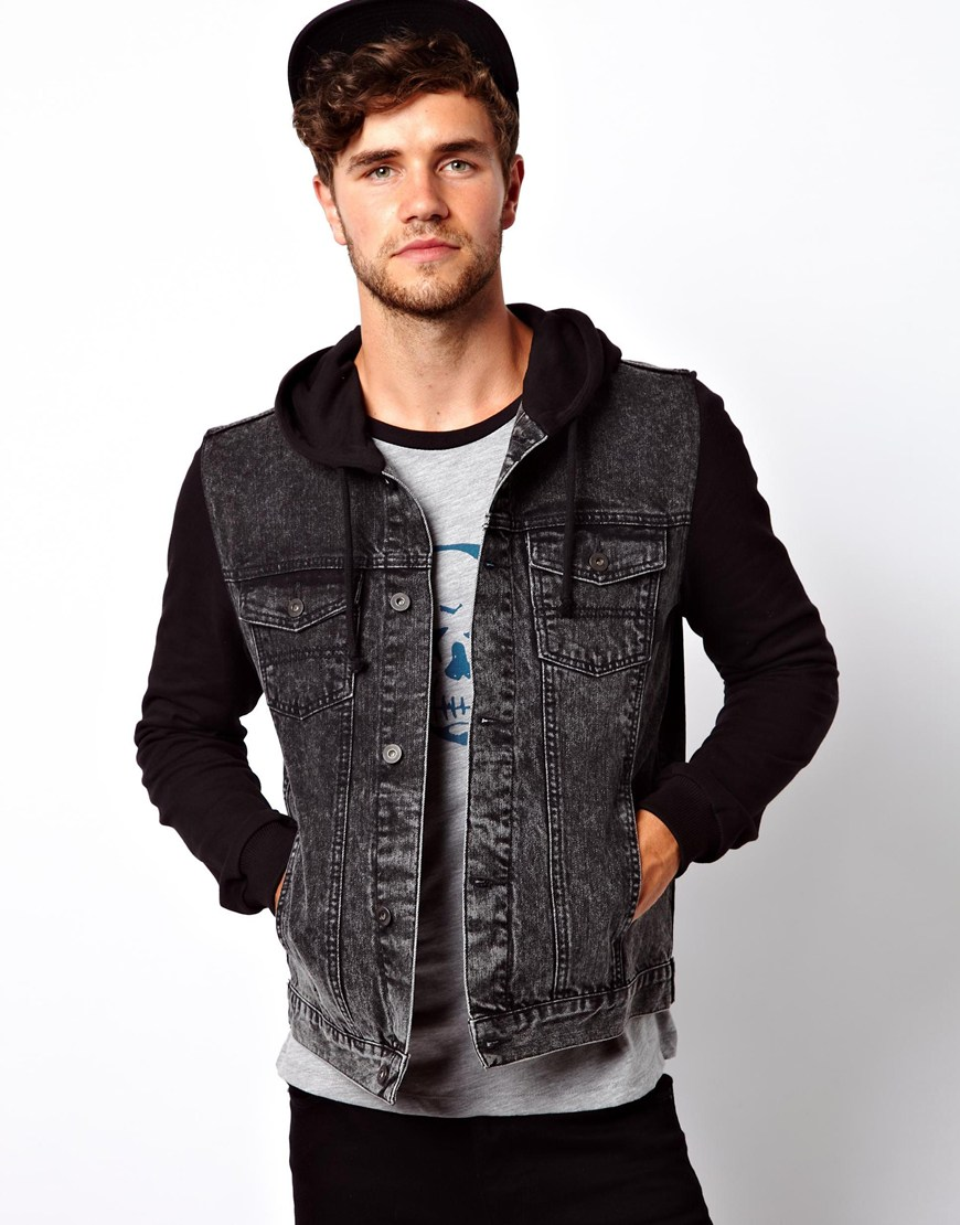 Asos Denim Jacket With Jersey Sleeves in Black for Men | Lyst