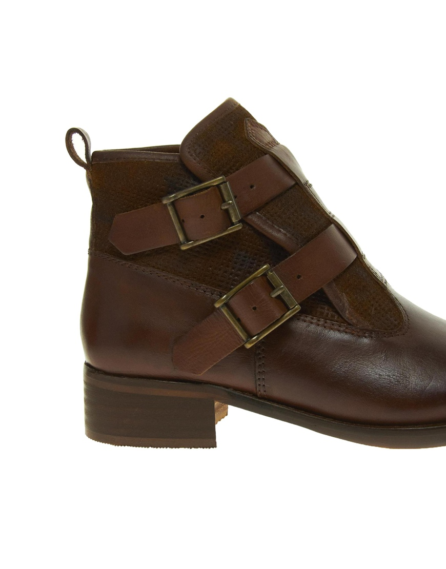 ultimo bertie poddy buckle ankle boots in brown lyst