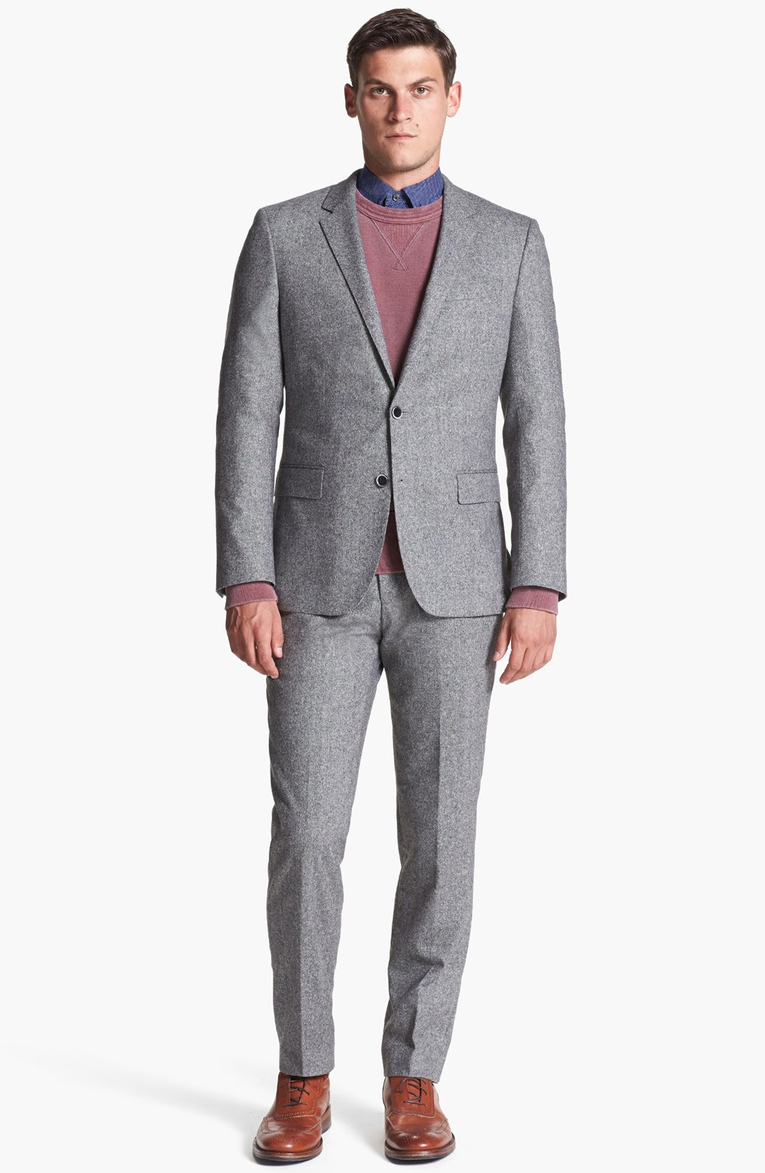 Boss by hugo boss hedge gense trim fit suit in gray for for Nordstrom men s dress shirt fit guide