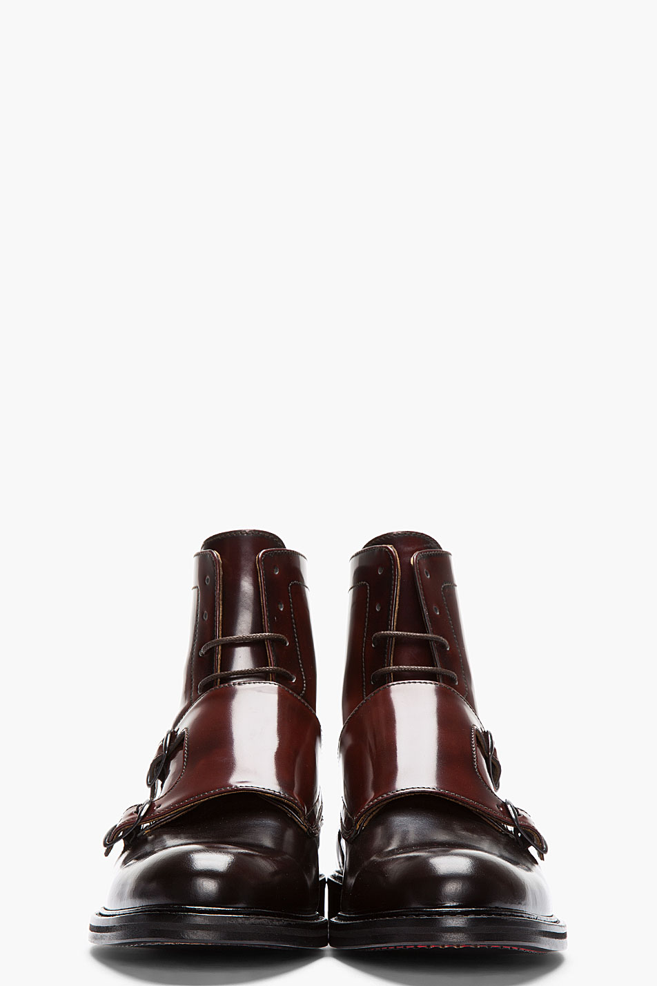 Carven Mahogany Two Tone Monk Strap Boots In Brown For Men