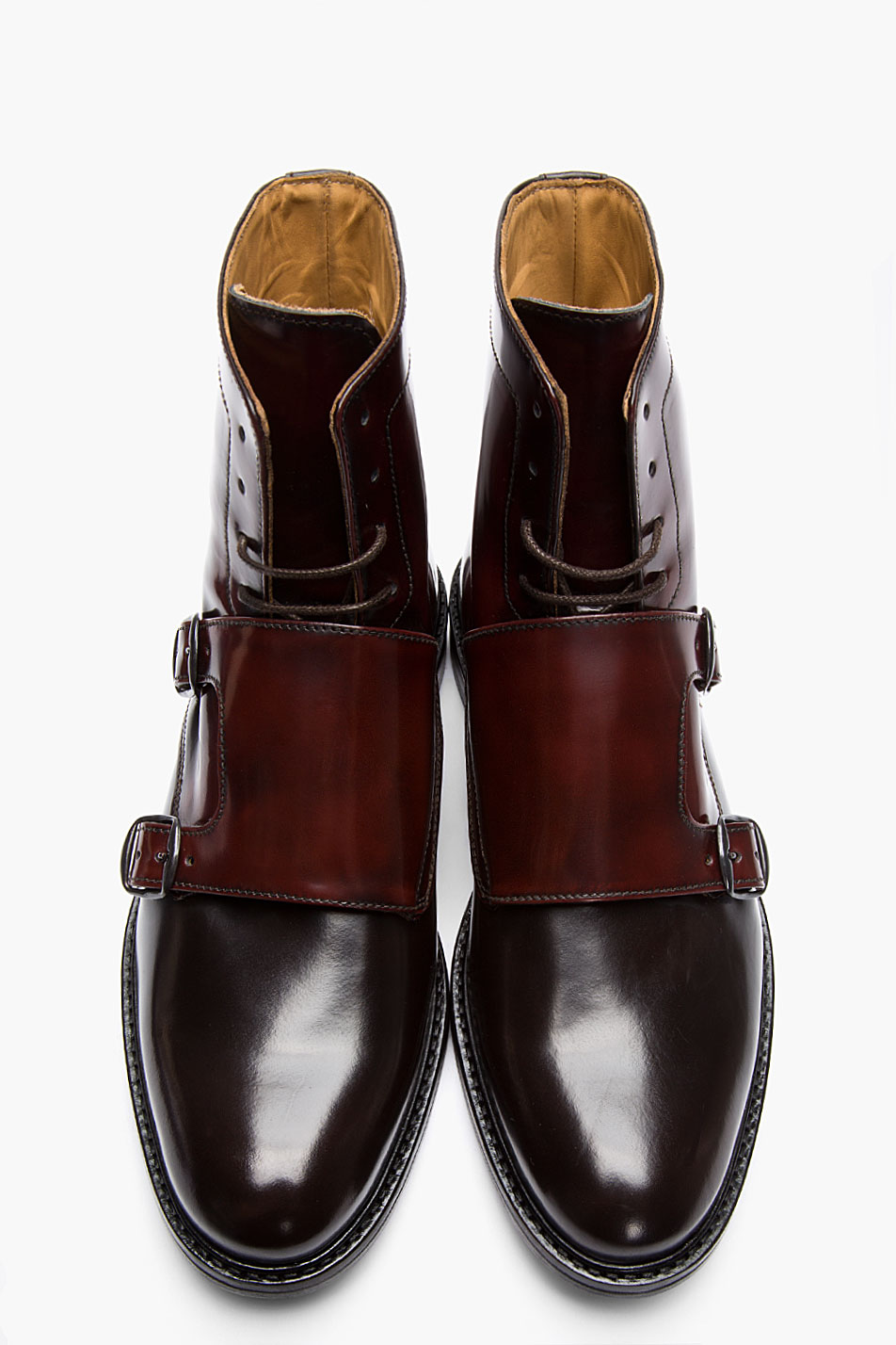 Carven Mahogany Two_tone Monk Strap Boots in Burgundy