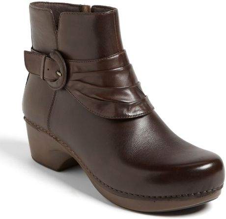 dansko boot in brown chocolate burnished
