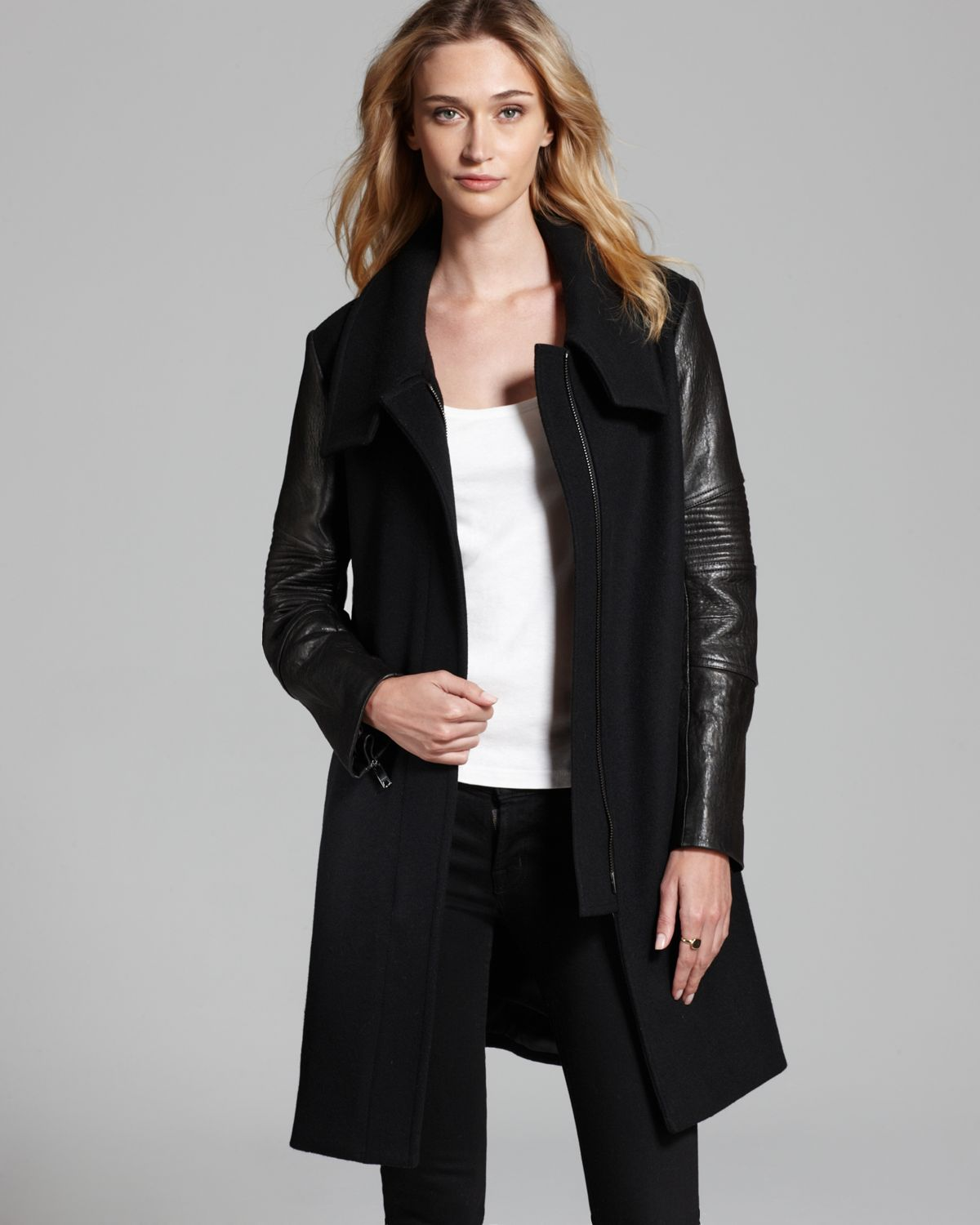 Jacket with leather sleeves