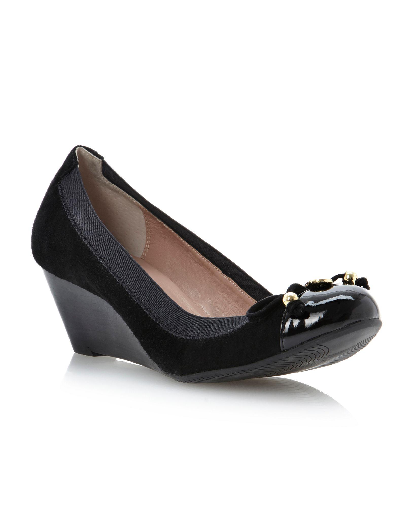 dune attic toecap wedge court shoes in black lyst