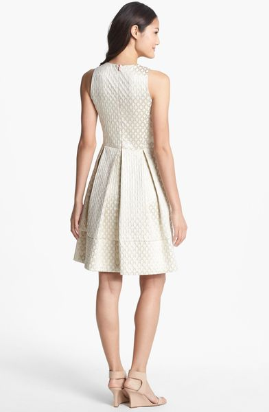 Eliza J Jacquard Fit Flare Dress In Gold Gold Ivory Lyst