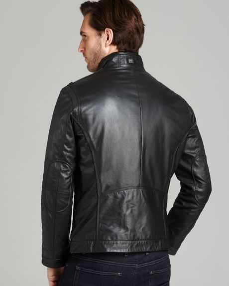 Hugo Boss Boss Aicon Standing Collar Leather Jacket In