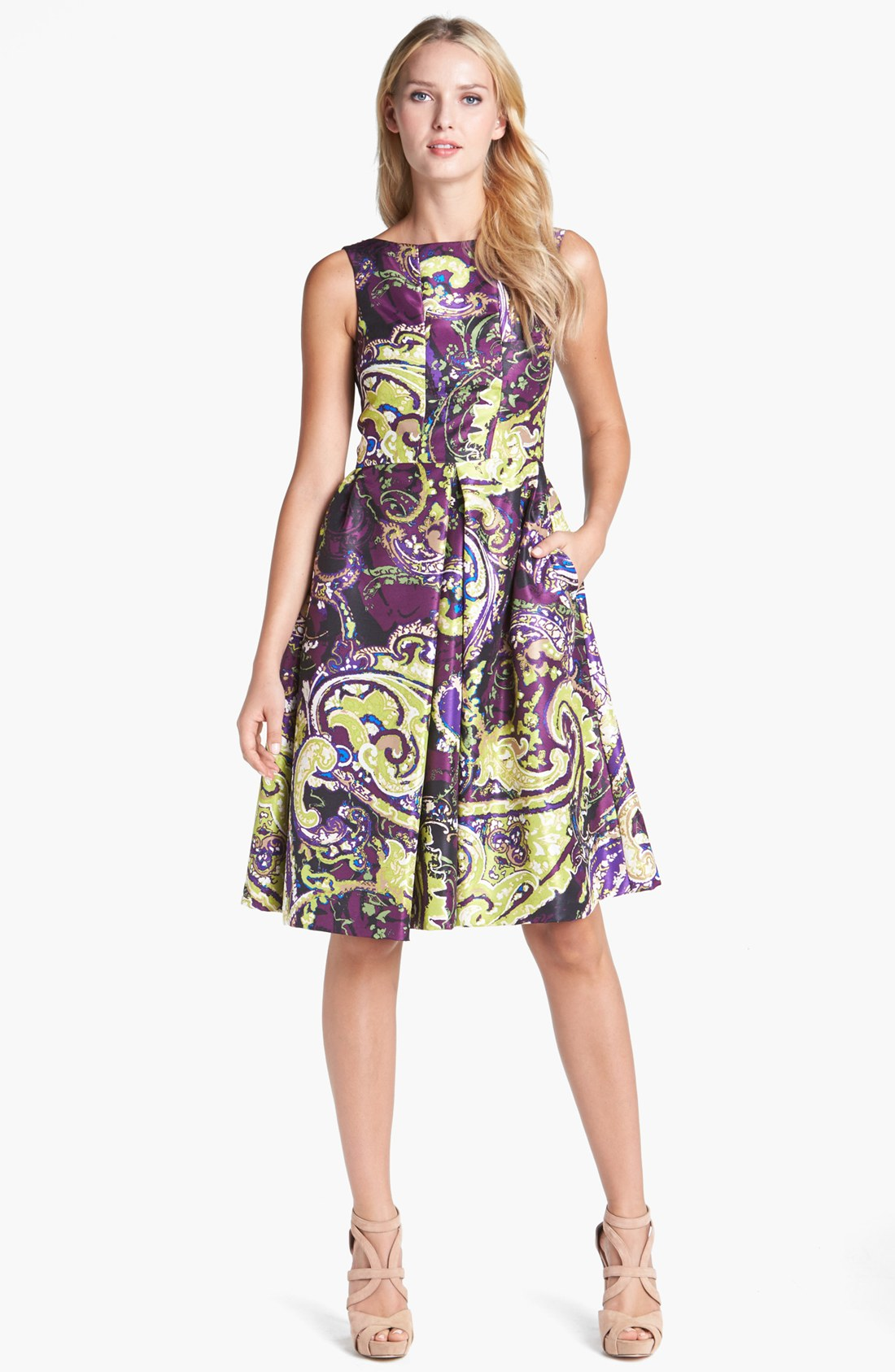 Isaac Mizrahi New York Print Charmeuse Fit Flare Dress In