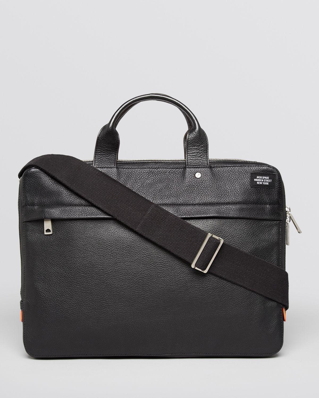 Jack spade Mason Leather Slim Briefcase in Black for Men ...