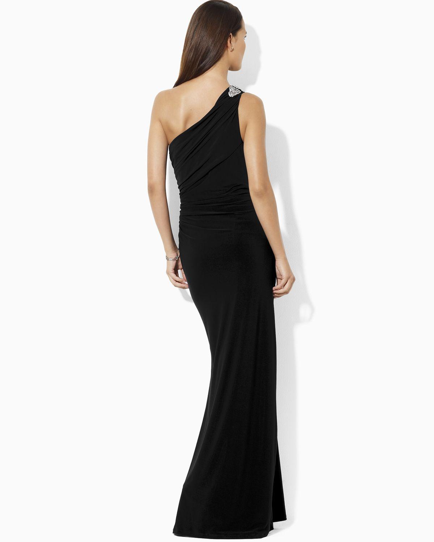 Lyst - Lauren By Ralph Lauren Sleeveless One Shoulder Gown in Black