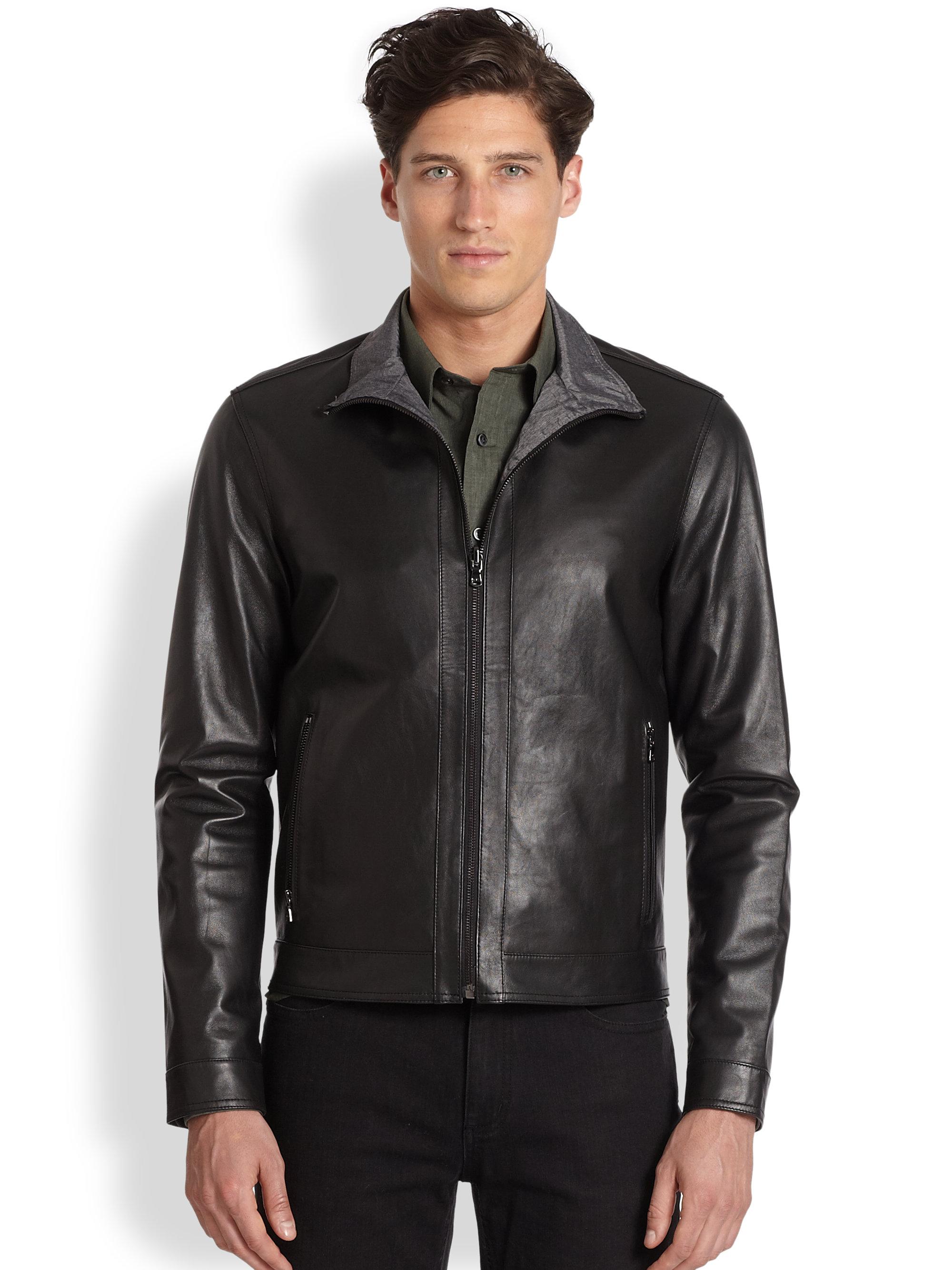 michael kors reversible leather jacket in black for men lyst. Black Bedroom Furniture Sets. Home Design Ideas