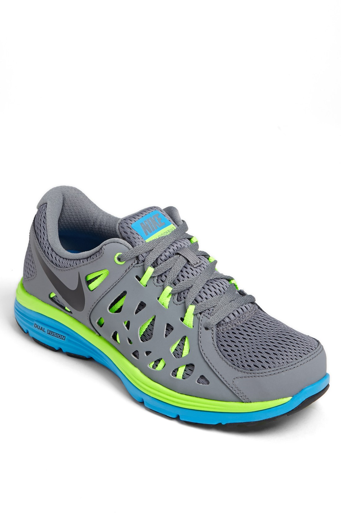 nike dual fusion run 2 running shoe in gray for grey
