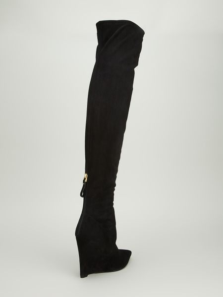sergio thigh high wedge boot in black lyst