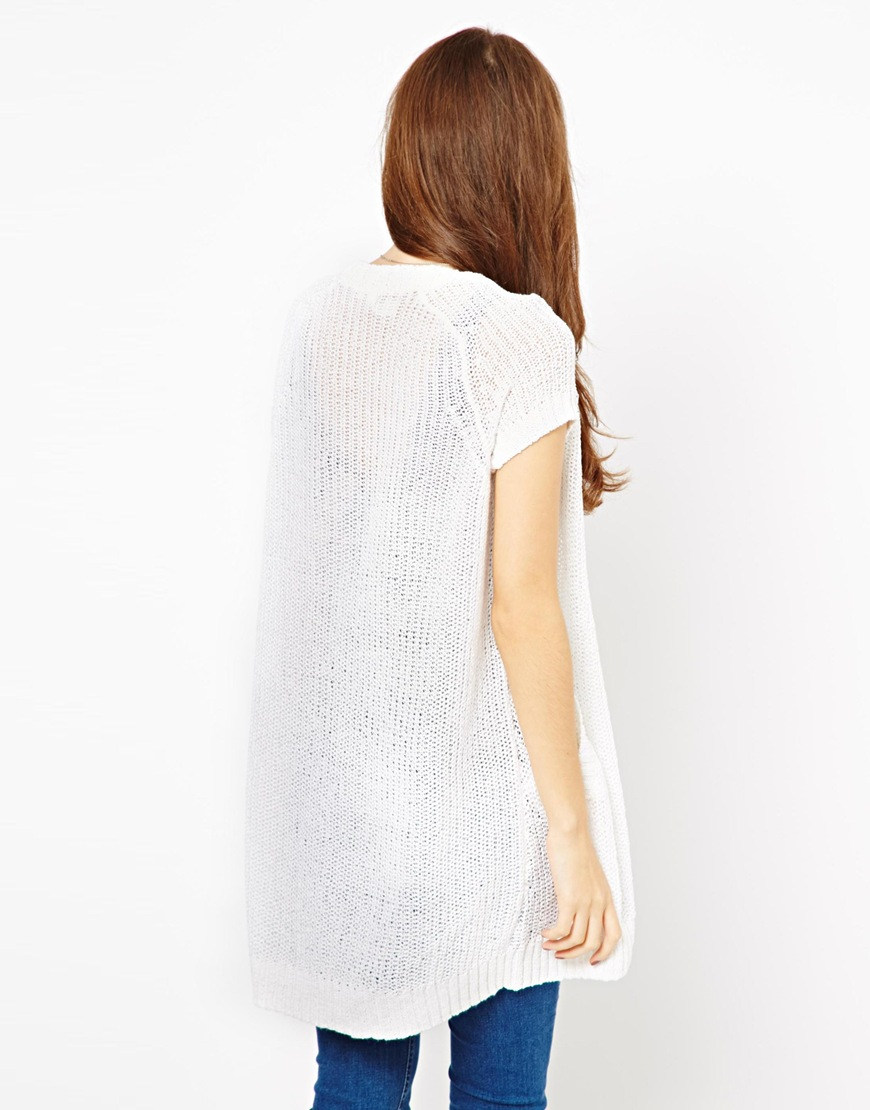Shae Open Front Short Sleeve Linen Cardigan in White | Lyst