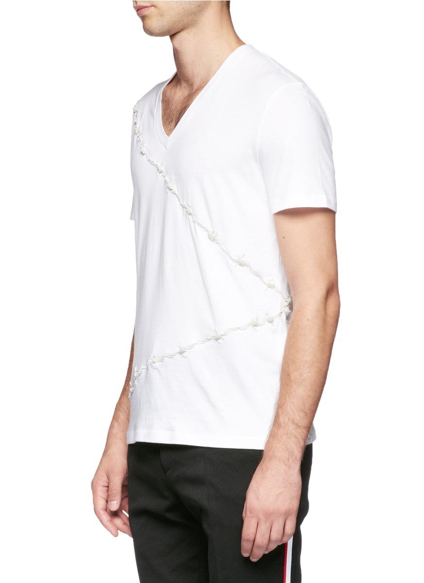 Lyst alexander mcqueen barbed wire t shirt in white for men for Alexander mcqueen shirt men
