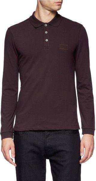 Armani longsleeve polo shirt in purple for men lyst for Long sleeve purple polo shirt