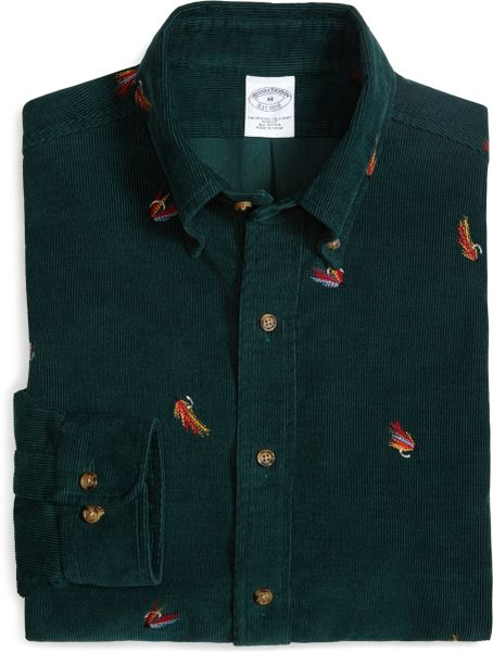 Brooks brothers slim fit fly fishing embroidered sport for Embroidered fishing shirts
