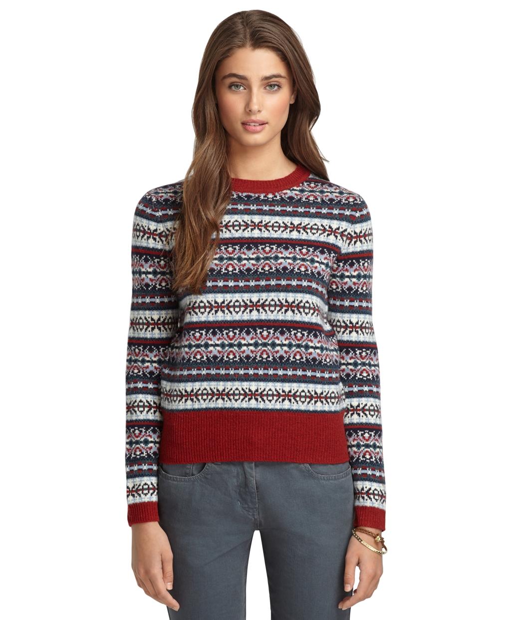 Brooks brothers Long Sleeve Fair Isle Crewneck Sweater | Lyst