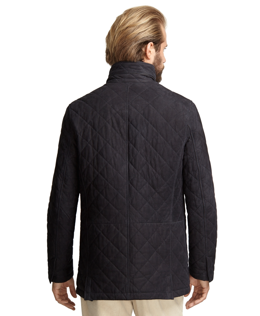 Brooks Brothers Suede Quilted Walking Coat In Navy Blue
