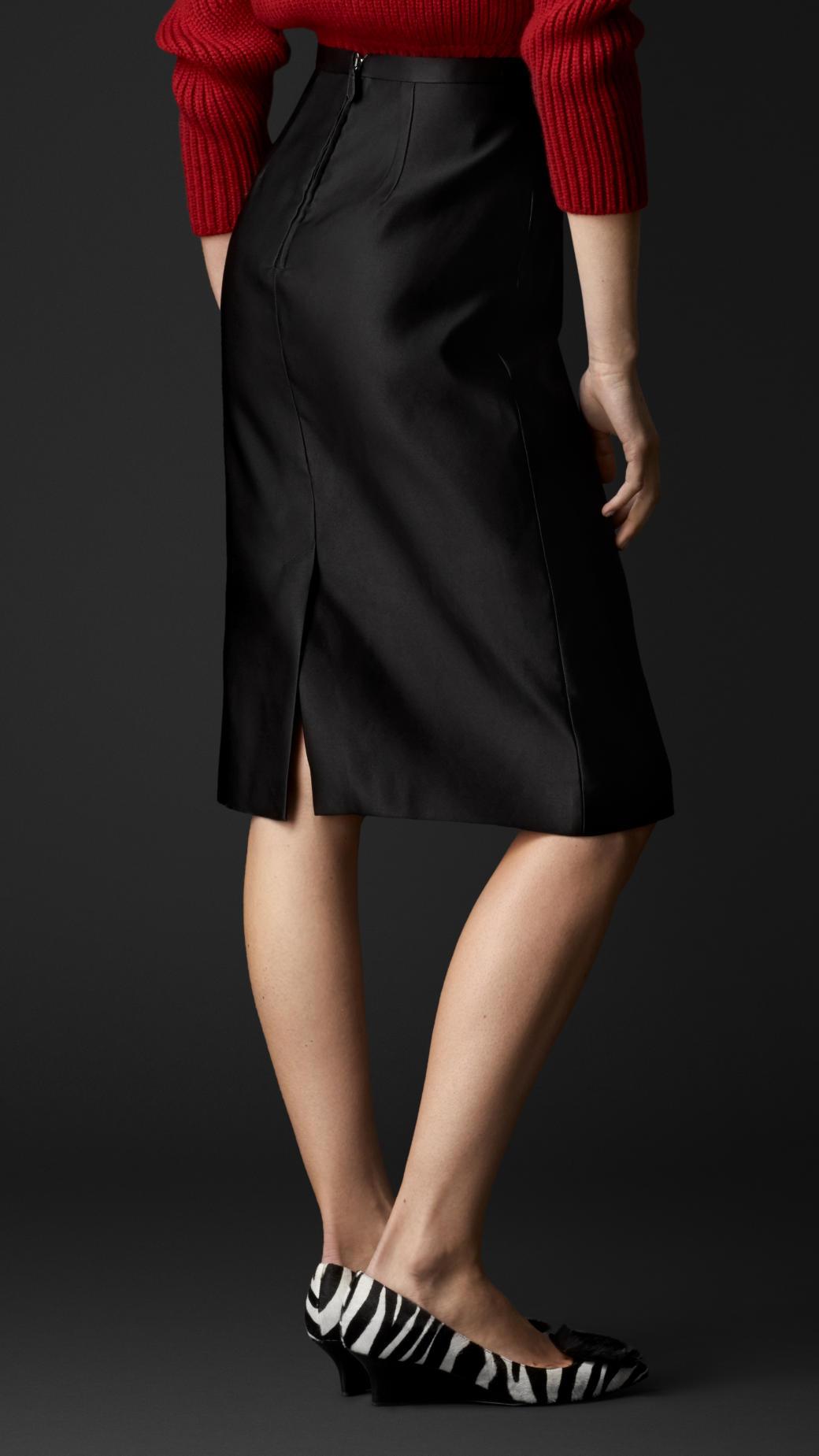 fdc3086fb886fb Burberry Duchess Silk Satin Pencil Skirt in Black - Lyst