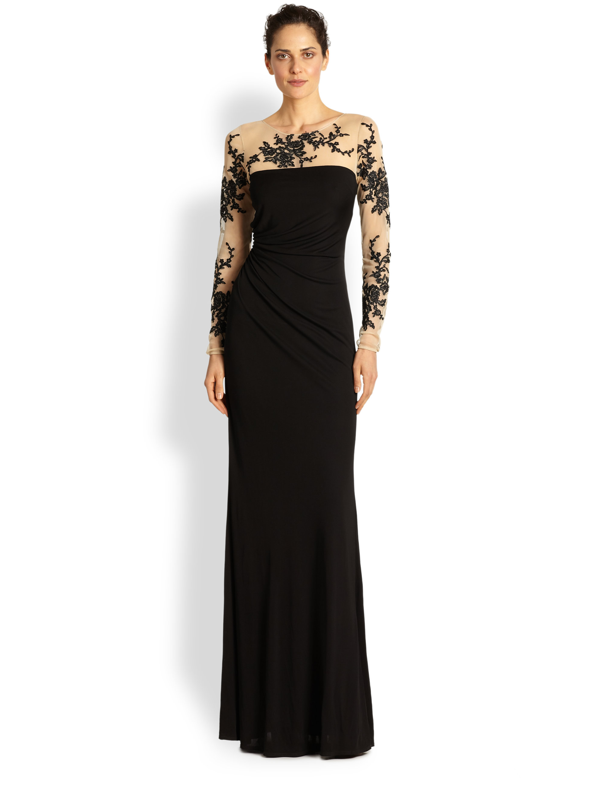 David Meister Embroidered Illusion Gown In Black Lyst
