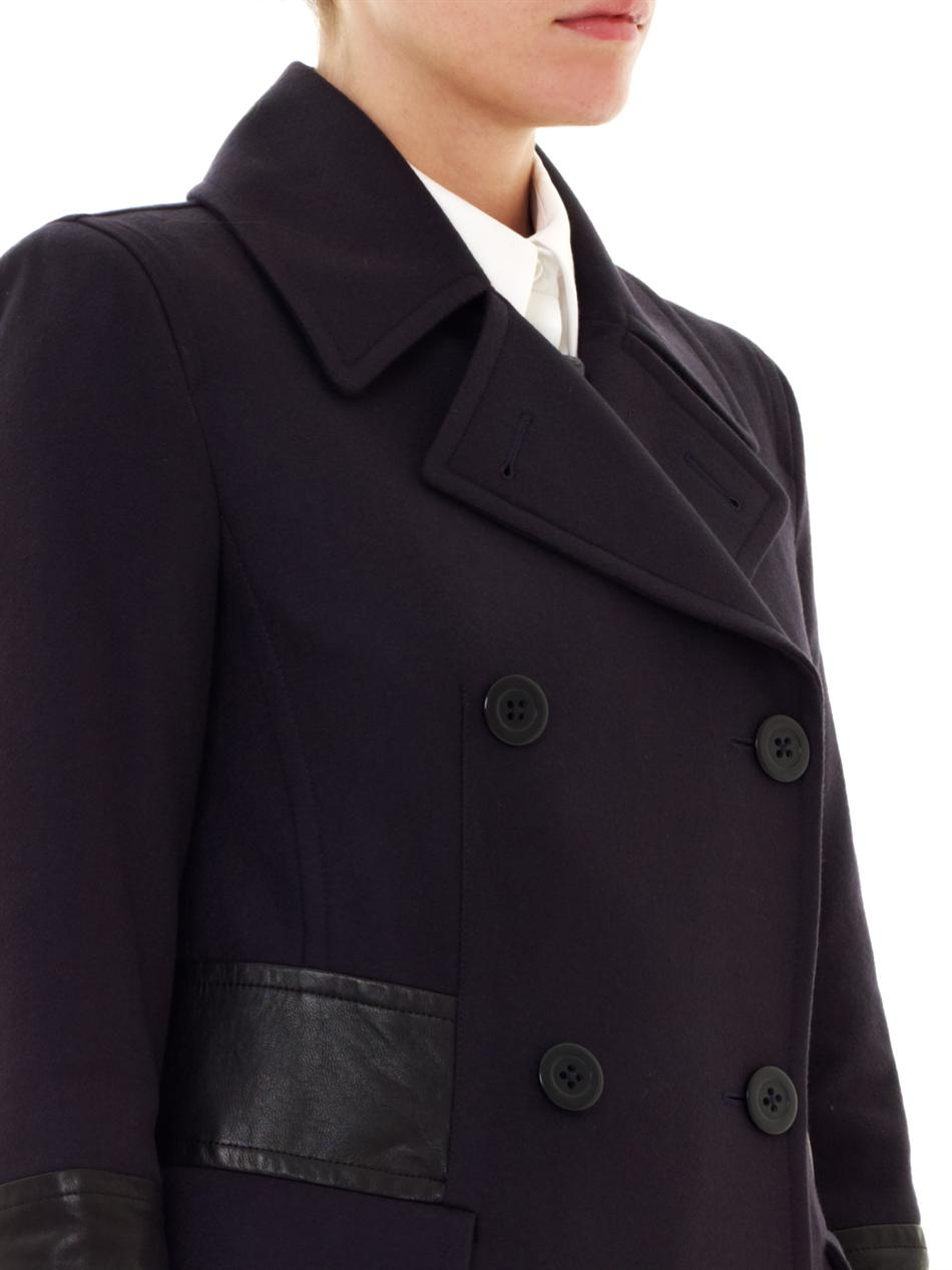 Dkny Leather Trim Doublebreasted Coat In Blue Lyst