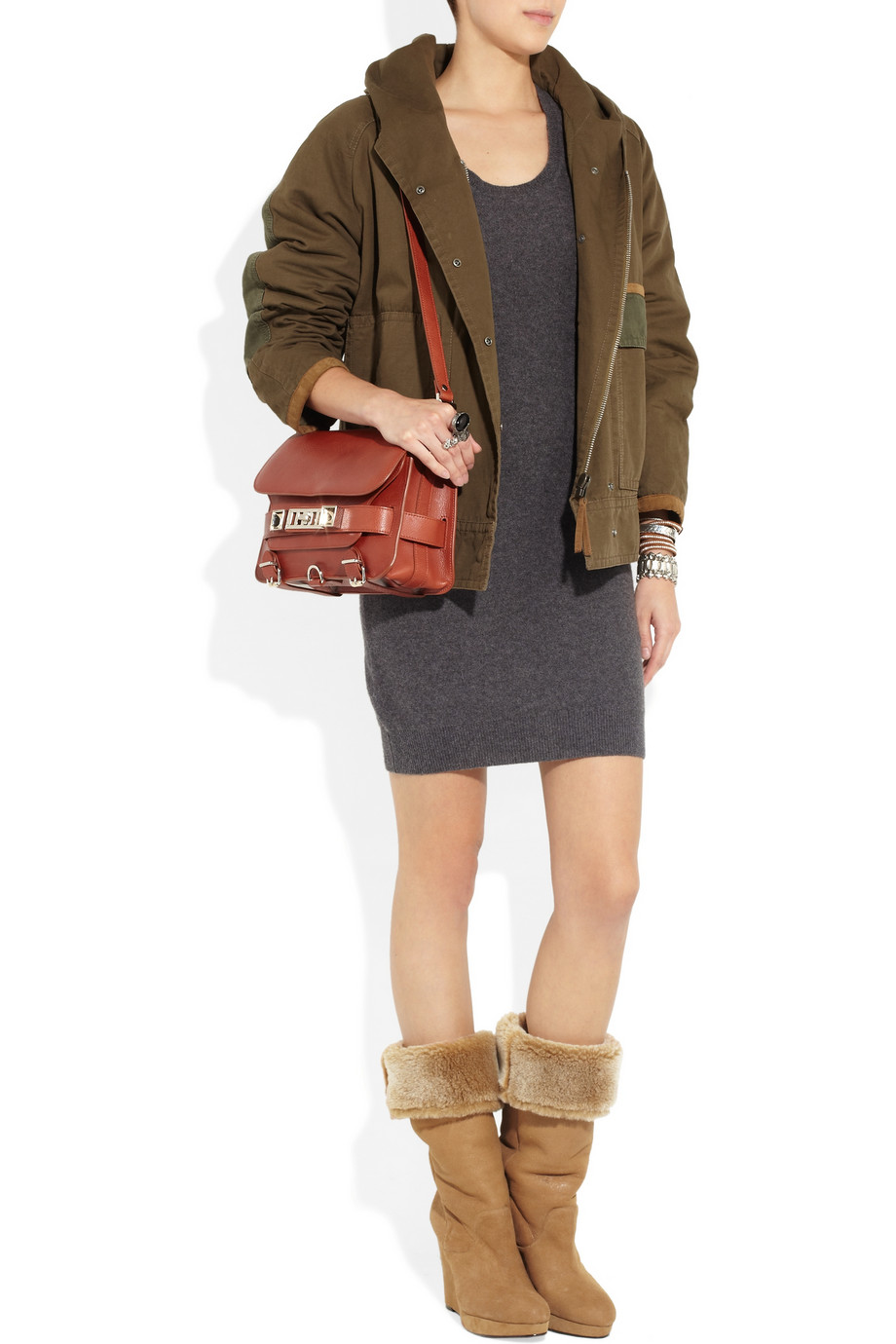 DKNY Shearling Wedge Boots in Tan (Brown)