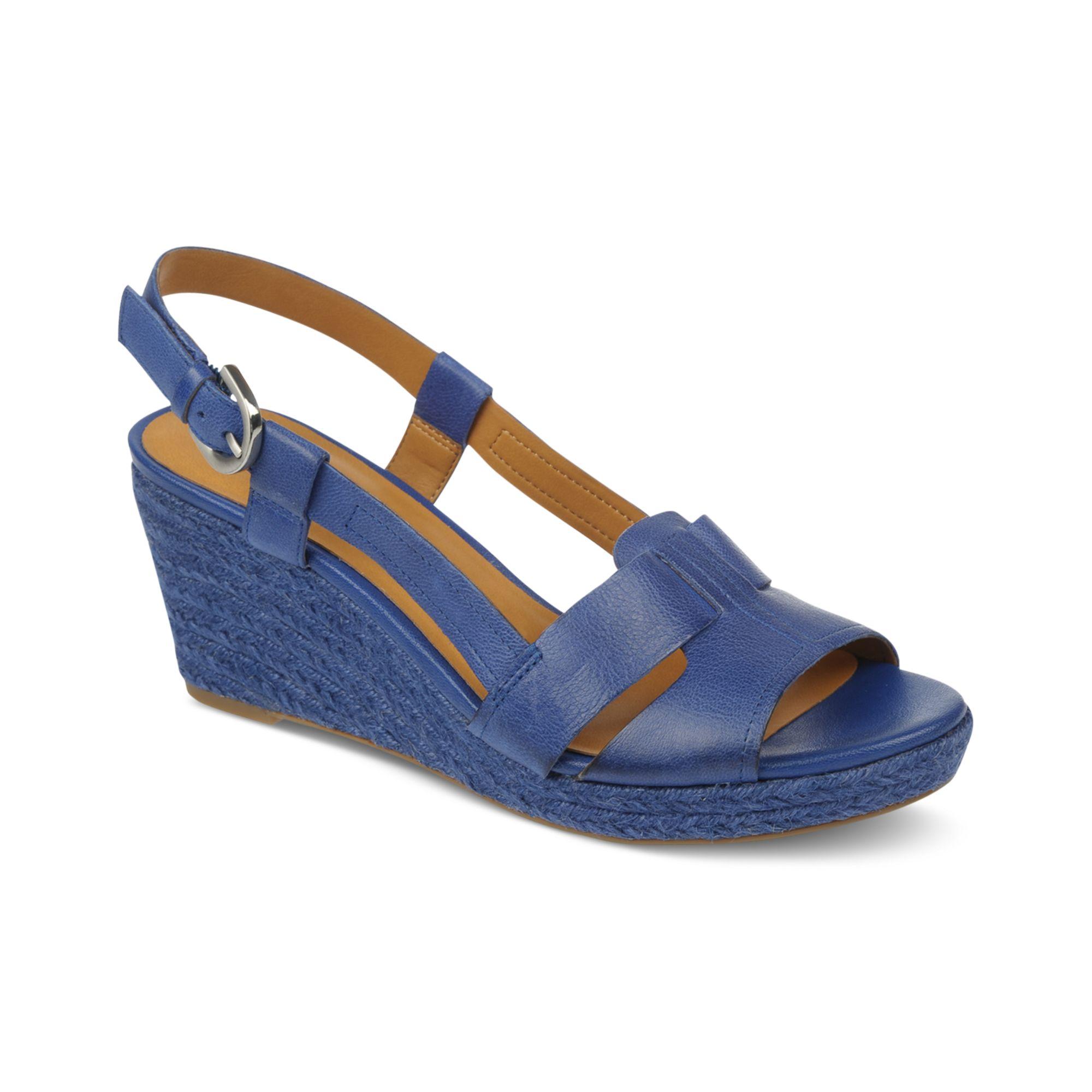franco sarto crispin platform wedge sandals in blue royal