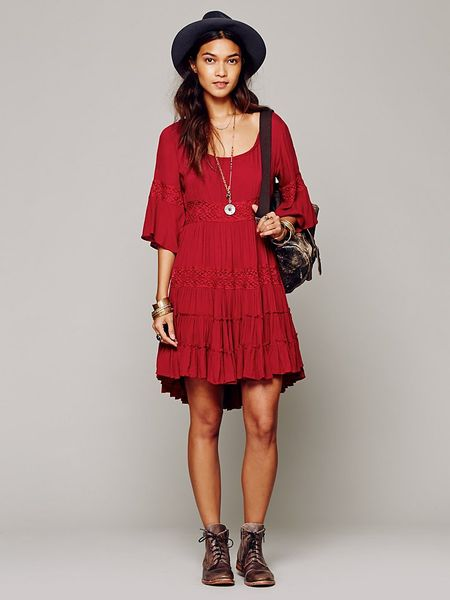 Free People Daisy Lace Dress In Red Ruby Lyst