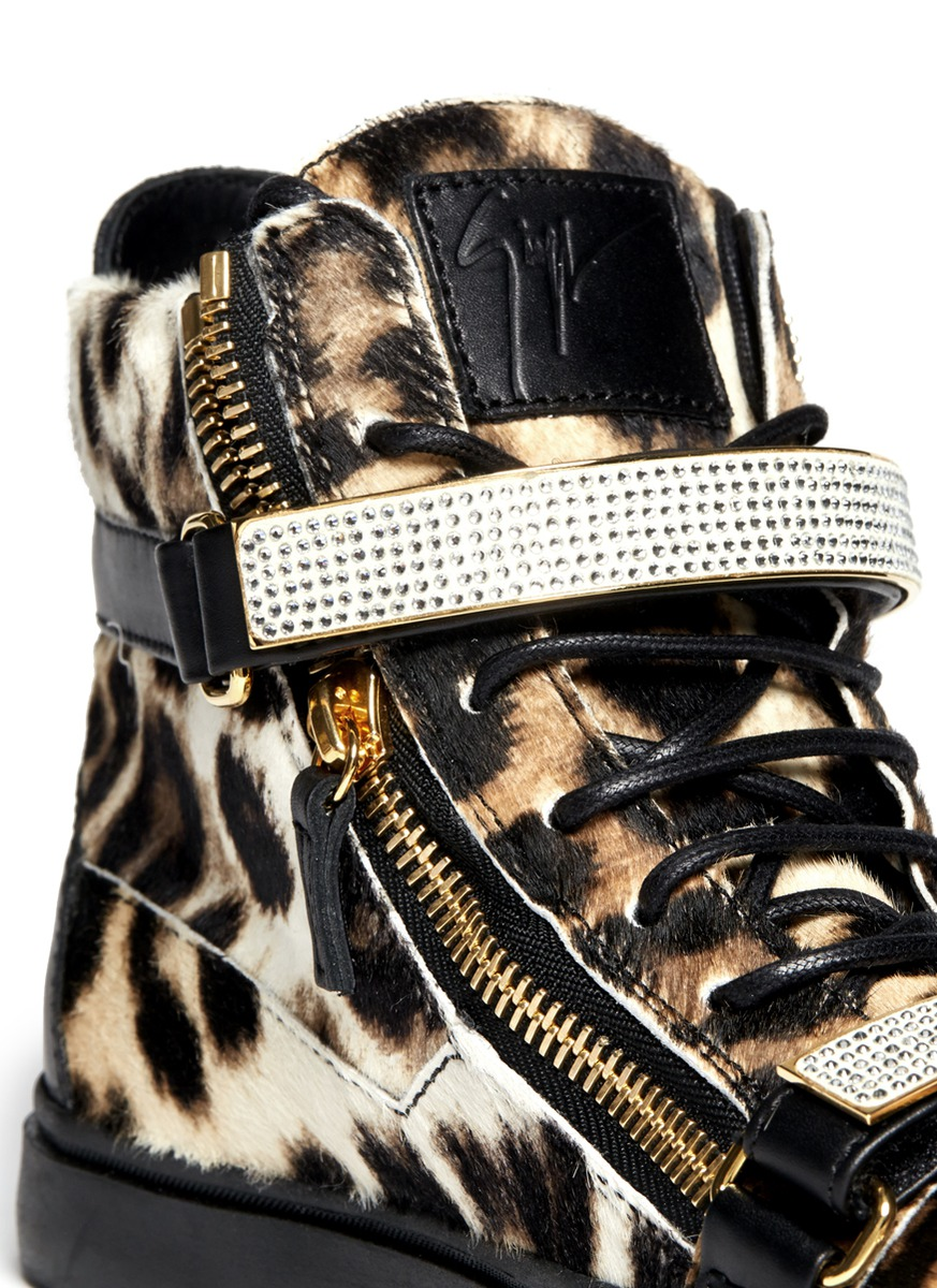 Giuseppe Zanotti London Gold-bar Leopard Sneakers
