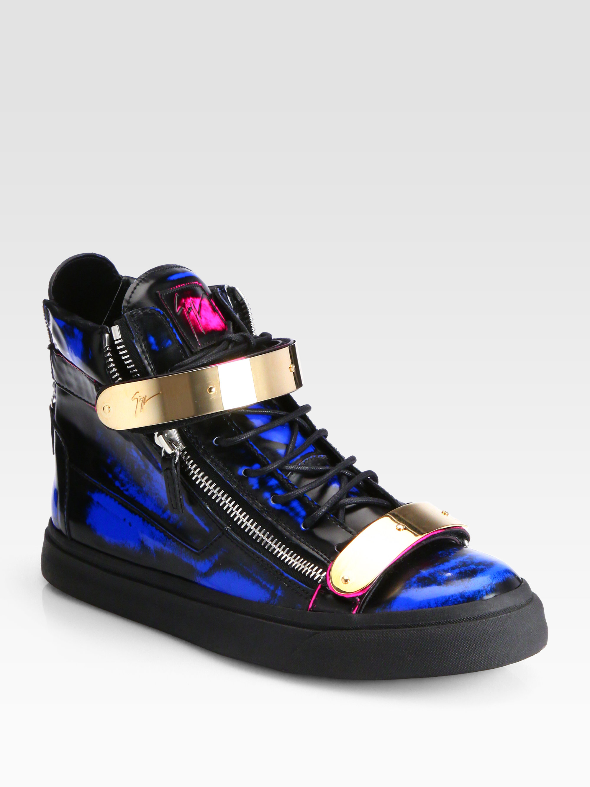 Giuseppe zanotti Double Bar Hightop Sneakers in Blue for ...