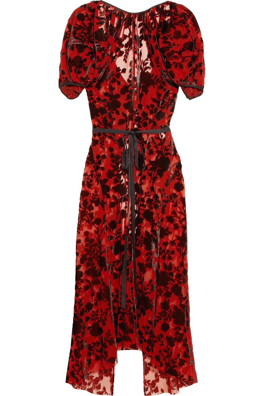 Junya Watanabe Floral Velvet Jacquard Dress In Red Lyst