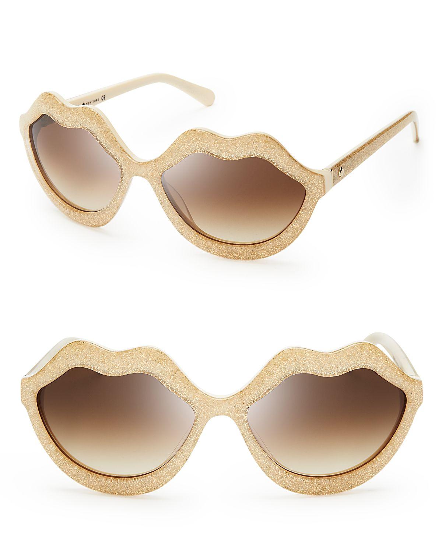 56f1cf97ed3b Kate Spade Seanna Oversized Lips Sunglasses in Natural - Lyst