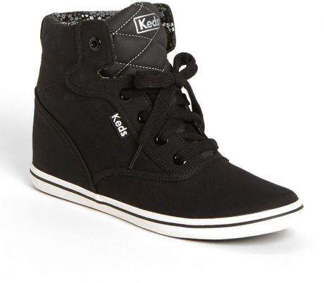 keds rookie wedge high top sneaker in black lyst