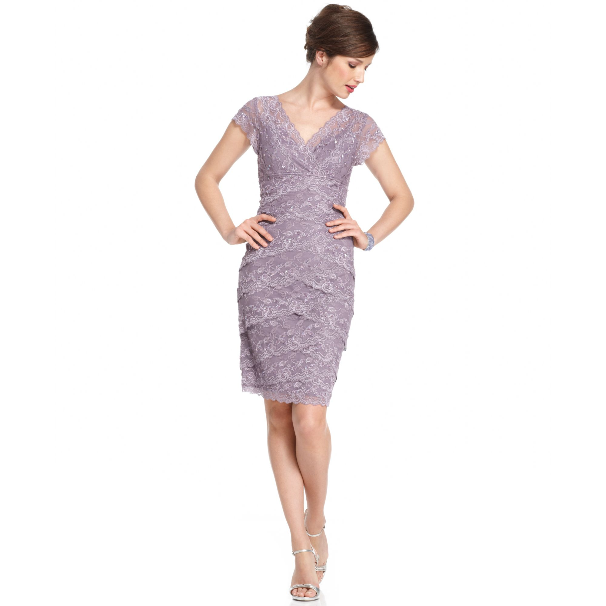 Marina Cap Sleeve Lace Cocktail Dress in Purple | Lyst